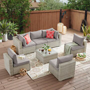 Rattan Wicker Sectional Sofa Patio Sofa Sets With Cushions And Glass Table 7pcs