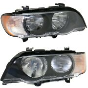 Headlight Set For 2000 2002 2002 2003 Bmw X5 Left And Right With Bulb 2pc