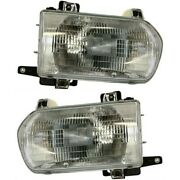 Headlight Set For 96 97 98 99 Nissan Pathfinder Left And Right With Bulb 2pc