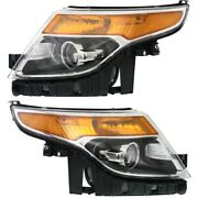 Headlight Set For 2013-2015 Ford Police Interceptor Utility Left And Right 2pc
