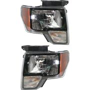 Headlight Set For 2010-2012 Ford F-150 Left And Right Black Housing Capa 2pc