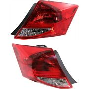 Halogen Tail Light Set For 2011-2012 Honda Accord Coupe Clear/red W/ Bulbs 2pcs