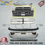 Front Bumper Chrome Steel + Grill + Up And Low Cover For 94-02 Dodge Ram 1500-3500