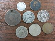 Obsolete Coin Lot Type Coins Indian Head Cent Shield Nickel Half Dime Large Q3l3