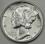 1942-s Mercury Dime. 100 Full Separated Horizontal Bands.choice Buinventory B