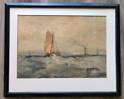 Antique 1893 Indistinctly Signed H.j.h. Seascape Boats Steamship Sail Watercolor