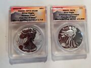 2013 W Reverse Proof And Enhanced Silver Eagle Anacs Pf70 Eu70 First Day Issue Set