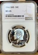 1966 Sms Kennedy Half Doubled Die Obverse/profilelooks Cameo Ms 65 Nice