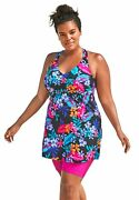Swimsuits For All Women's Plus Size Longer Length Braided Tankini Top