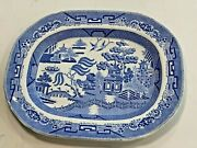 190 Years Old Victorian 1830's Porcelain Blue Willow Deep 16 Wide Platter