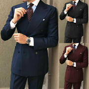Men Suits Wide Lapel Double Breasted Formal Wedding Party Wear Groom Coat Pants