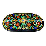 48 X 24 Black Marble Center Table Top Floral Inlay Pietra Dura Art Work