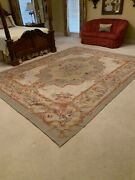 Needlepoint Aubusson French Design Rug Colors Green Red Aqua Yellow And Beige.