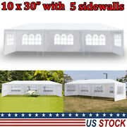 10and039x30and039 Carport Garage Car Shelter Canopy Party Tent Sidewall With Windows White