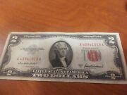 1953a 2 Dollar Bill United States Note Red Seal And Letters