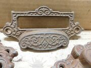 35 Original Antique Apothecary Drawer Pulls With Label Holders Cast Iron