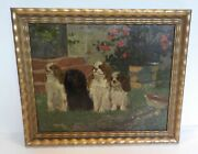Antique Oil On Mahogany Panel Painting Cavalier King Charles Dogs Family Bath