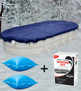 18'x34' Oval Above Ground Pool Cover + 2 4'x4' Air Pillows + Winterizing Kit