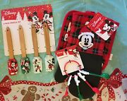 Disney Mickey Minnie Mouse Holiday Baking Set Spatulas Oven Mitts Meas. Spoons