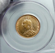 1892 Great Britain Antique Uk Queen Victoria Old Gold Sovereign Coin Pcgs I90686