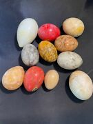 Lot Of 11 Vintage Stone Eggs From Italy Alabaster Granite Marble Polished
