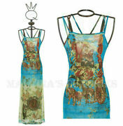 Save The Queen Long Dress Sicily Inspired Print Stretch Tulle Sz S M L