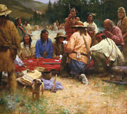 Howard Terpning Friendly Game At Rendezvous Canvas Master Work Giclee