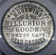 1860and039s M Leask Ny-418wm R-8 Illusion Goods New York Merchant Token