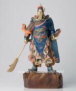 China Brass Copper Hand Painting Dragon Guan Gong Guanyu Warrior Soldier Statue