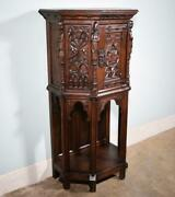 Vintage French Gothic Revival Cabinet/console/sideboard Highly Carved Oak