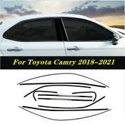 Black Steel Car Window Strip Cover Trim 10pcs Fit For Toyota Camry 2018-2021