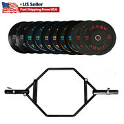 Olympic Barbell Deadlift Bar Weight Sets Plates Lifting Rubber Bumper Workout