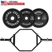 Olympic Barbell Deadlift Bar Weight Barbell Plates Cast Iron Solid Set Workout