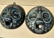 Vintage Old Antique Copper Wood Beads African Face Wall Hung Makes Set Pair Rare