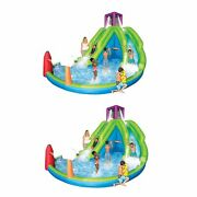 Magic Time Adventure Falls Inflatable Water Park W/ 2 Slides And B-ball Hoop 2