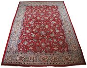 Semi Antique Hand Knotted Floral All Over Red Wool Area Rug Carpet 8.6 X 12and039