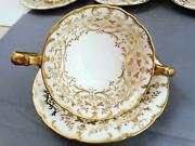 8 Cauldon For Gold Encrusted Cream Soup Bullion Cups And Saucers