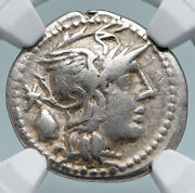 Roman Republic 126bc Authentic Ancient Old Silver Coin Roma And Liberty Ngc I89463