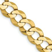 Mens 8.25mm 14k Yellow Gold Solid Lightweight Flat Curb Chain Necklace