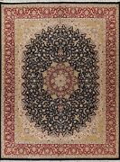 Vegetable Dye Floral Nain Oriental Area Rug Hand-knotted 8x10 Navy Blue Carpet