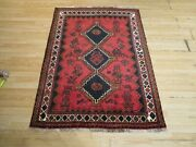 Estate Ca 1970 3and0398 X 5and0394 Tribal Animal Motifs Handmade-knotted Wool Rug 586219