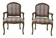 52665ec Pair Ethan Allen French Louis Xv Style Open Armchairs