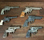 Lot 6 1950's Hubley Texans Rodeos Troopers Cast Iron Toy Guns Red Star Usa Parts