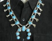 Vintage 1960s Sw New Mexico Silver/turquoise Squash Blossom Necklace Signed Wj