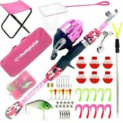 Kids Fishing Pole Andndash Telescopic Rod And Reel Combo With Collapsible 4.0 Feet Pink