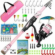 Kids Fishing Pole Portable Telescopic Fishing Rod And Reel 1.8m 5.91ft Pink
