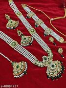 Bollywood Indian Gold Finish Green Long Mala Choker Necklace Jewelry Party Set