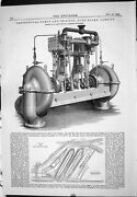 Antique Print 1883 Centrifugal Pumps Engines Bute Docks Cardiff Allen Plan 19th