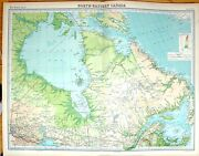 Antique Old Print Times Map 1922 North East Canada Ontario Quebec Hudson Bay