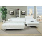 Bonded Leather 2 Piece Sectional Set In White White Americana